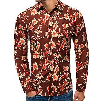 Allthemen الرجال & apos;s البوليستر الأزهار المطبوعة Lapel قميص طويل الأكمام