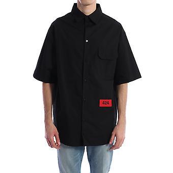 424 20101000999 Men's Black Cotton Shirt