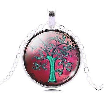 Glas Cabochon Medaillon Halskette - Aqua Baum