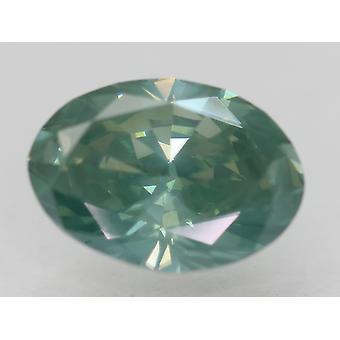 Cert 1.77 Carat Blueish Green VS2 Oval Enhanced Natural Diamond 9.41x6.73mm 2VG