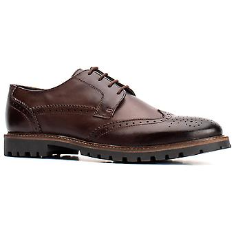 Base London Mens Grundy Washed Lace Up Shoe Brown