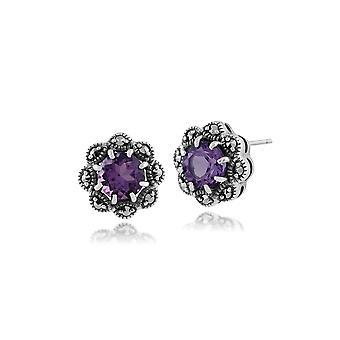 Art Nouveau Style Round Amethyst & Marcasite Stud Earrings in 925 Sterling Silver 214E731502925