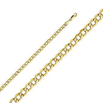 14 k Gelbgold 4,9 mm hohle Bordstein Kette Halskette Schmuck Geschenke für Frauen - Länge: 20 bis 26