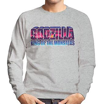 Godzilla King Of The Monsters Pink Sunset Logo Men's Sweatshirt
