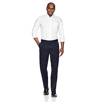 Brand - Buttoned Down Men's Relaxed Fit Pleated Non-Iron Dress Chino Pant, Navy, 34W x 32L