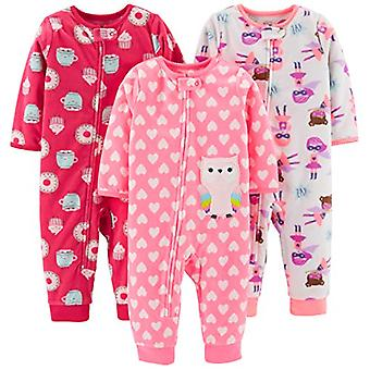 Simple Joys by Carter's Girls' 3-Pack Loose Fit Flame Resistant Fleece Footle...