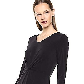 Lark & Ro Women's Crepe Knit Three Quarter Sleeve Center Twist Dress, Black, 2