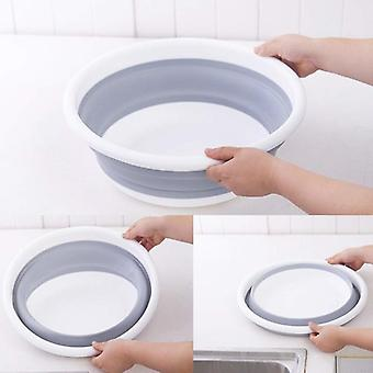 Round Folding Wash Basin, Silicone Storage Dish For Clothes, Kitchen & Bath
