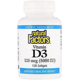 Natural Factors, Vitamin D3, 125 mcg 5,000 IU, 120 Softgels