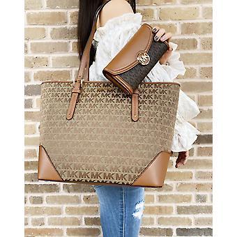Michael kors lillian large top zip shoulder tote beige brown+ fulton wallet