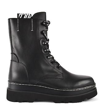 Ash STONE Lace Up Boots Black Leather