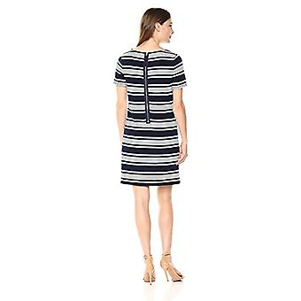 Lark & Ro Women's Short Sleeve Round Neck Shift Dress, Navy/Ivory Stripe, Small