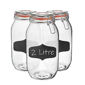 Glass Storage Jars with Airtight Clip Lid and Chalkboard Stickers - 2 Litre Set - Orange Seal - Pack of 6