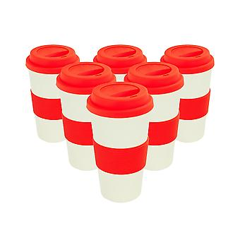 Reusable Coffee Cups - Bamboo Fibre Travel Mugs with Silicone Lid, Sleeve - 400ml (14oz) - Red - Pack of 6