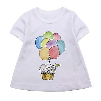 Girl T-shirt Balloon Printed Short Sleeved Cotton Top