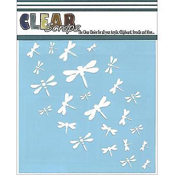 """Clear Scraps Stencils 6""""X6""""-Dragonfly Wall"""