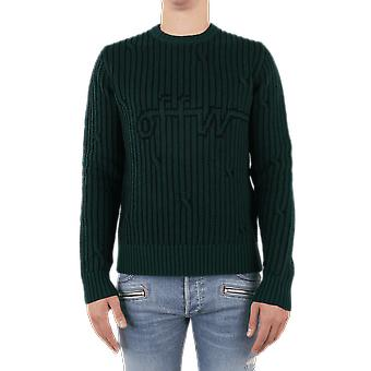 OFF WHITE Cabled Off W Crewneck Green OMHE043E20KNI0015700 Top