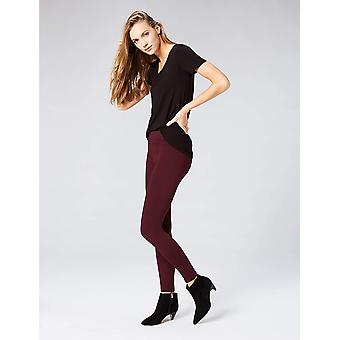 Brand - Daily Ritual Women's Seamed Front, 2-Pocket Ponte Knit Legging, Burgundy, X-Small Short