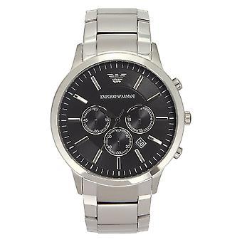 Armani Ar2460 Armani ruostumaton teräs hopea&musta Men's Watch
