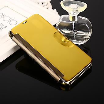 For iPhone X  Electroplating Mirror Horizontal Flip Leather Case(Gold)