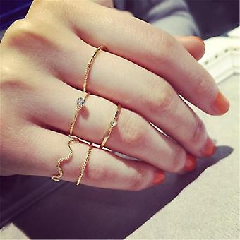 Fashion Midi Round Twist Weave Ring Set, Fashion Jewely Elegant Classic Rings