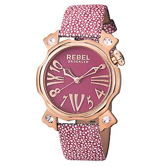 Rebel Women's Coney Island Violet Dial Leather Watch