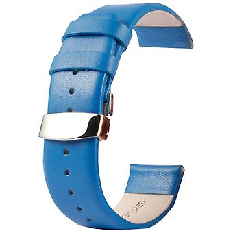 Kakapi for Apple Watch 42mm Subtle Texture Double Buckle Genuine Leather Watchband, Only Used in Conjunction with Connectors (S-AW-3293)(Blue)