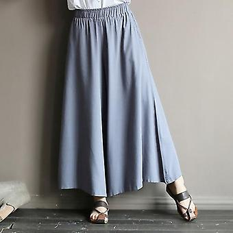 Pantalon jambe large, taille élastique