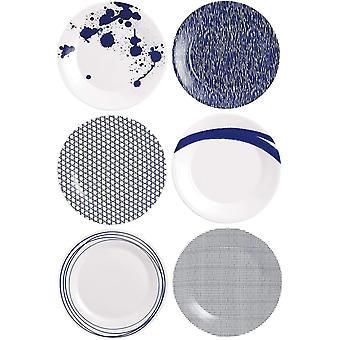 Royal Doulton Pacific 40009468, Plate 23cm, Mixed Set of 6, Blue, Porcelain