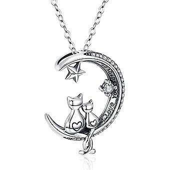Cat Necklace, S925 Sterling Silver Cat on Moon Pendant