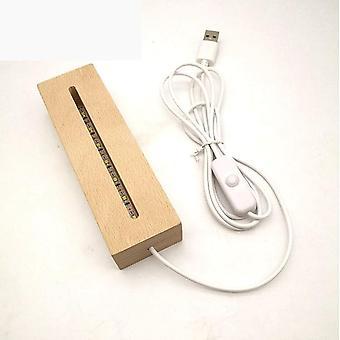 Puinen led-lamppu - Base USB -kaapelikytkin Moderni yövalo