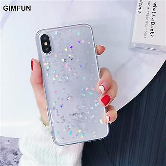 Transparent Star Bling Glitter Clear Back Love Heart Tpu Case