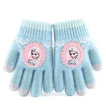 Children Frozen Cartoon Glove, Five Fingers Half Finger Winter Keep Warm