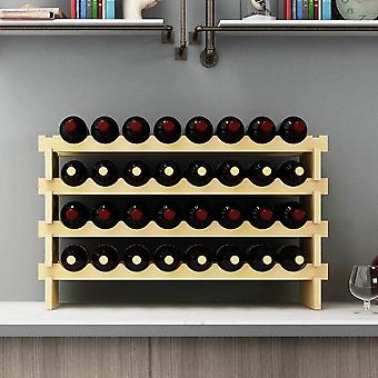 SogesHome 4-Tier 32 Bottle Stackable Modular Wine Rack Wood Wine Display Rack, Free Standing