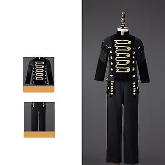 Negru cu mărgele Tassel Terno Infantil Costum