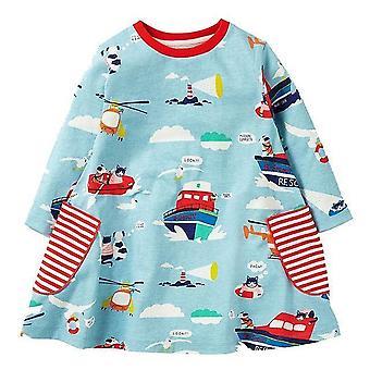 طويل الأكمام الأميرة تونيك جيرسي اللباس والبحر والقوارب تصميم، والرضع