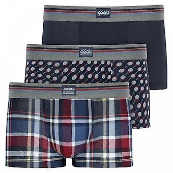 Jockey Cotton Stretch 3-Pack Short Trunks, Ciclismo Rojo, Medio