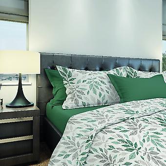 Komplette Bed Leaves Green Color, Beige aus Baumwolle, L240xP280 cm, L170xP195 cm, L50xP80 cm