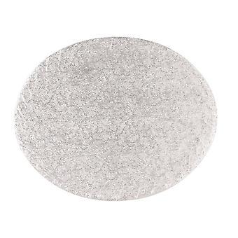"""14"""" x 12"""" (355 x 304mm) Cake Board Oval Silver Fern - sencillo"""