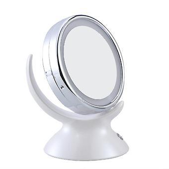 قابل للتعديل 5x التكبير مضاءة ماكياج مرآة ماكياج مرآة الحمام الغرور 360 درجة دوارة على الوجهين مرآة الجدول (أبيض)