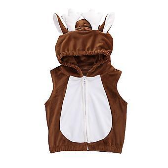 חורף בייבי 3d צבי קפוצ'ון אפוד קרניים אוזניים קטיפה תלבושות