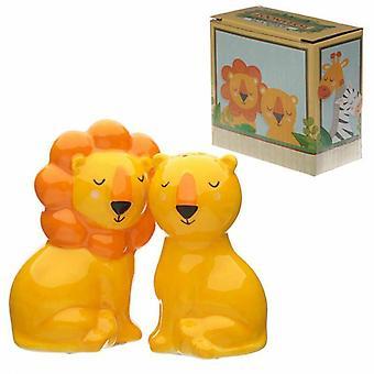 Cute lion design zooniverse salt and pepper set