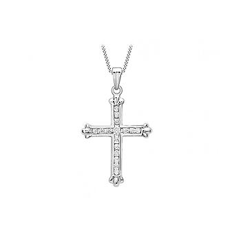 Pendentif Eternity 9Ct White Gold Cz Cross