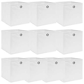 vidaXL Aufbewahrungsboxen 10 Stk. Weiß 32×32×32 cm Stoff