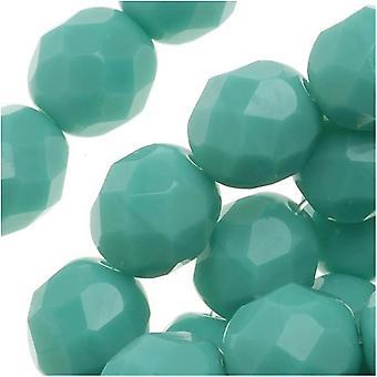 """חרוזי זכוכית צ'כית מלוטשת 8 מ""""מ עגול טורקיז ירוק אטום (25)"""