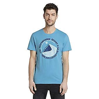 Tom Tailor Aufdruck T-Shirt, Crystal Sea Blue, S Men