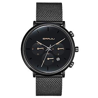 SUPBRO Ultra thin men's watches with minimalist black quartz with black mesh strap(6)