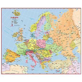 Enorm primär Europa vägg karta politisk (laminerad)