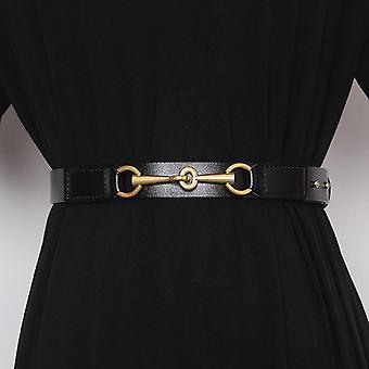 Women Simple Design Plain Real Cow Leather Belt