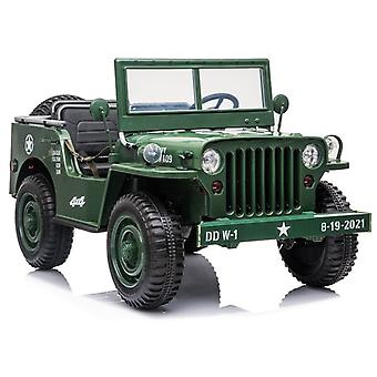 Offroad children's car electric – Dark Green – 2.4G - Willy's jeep